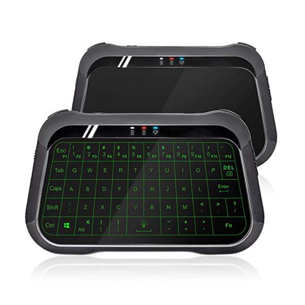 T18 Mini Aydınlatmalı Kablosuz Klavye Fare Combo Tam Ekran Fare Touchpad ile, Android TV Box PC için şarj edilebilir Klavye