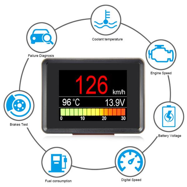 Спидометр топлива Компьютер Потребление Дисплей метр Датчик температуры Автомобильный бортовой компьютер автомобиля цифровой OBD2 OBD A203