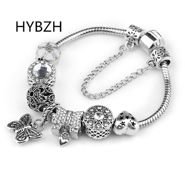 HYBZH Europe various style Fashion Jewelry Crown charm Bracelets & Bangles violet Glass European Beads fits bead bracelets