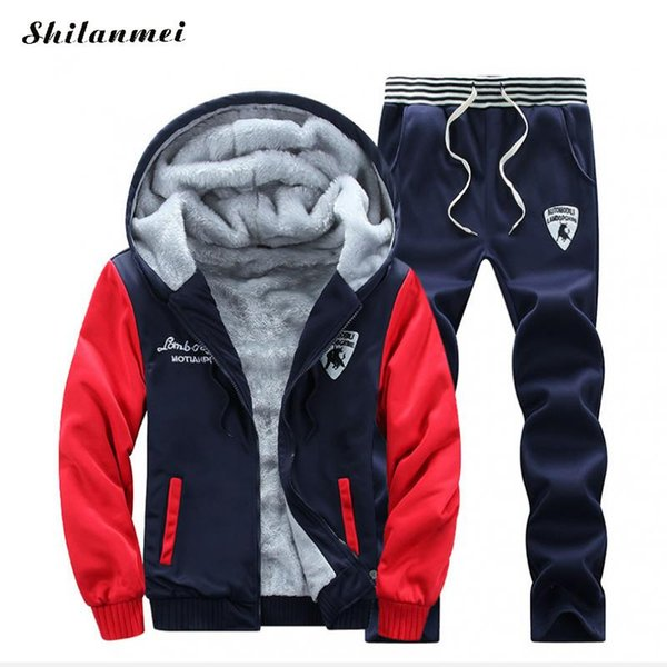Brand New Men Set Fashion Winter Tracksuits Thick Lined Hoodies Sweatshirt + Pants Track Suit Mens Sportswear Sweat Suit