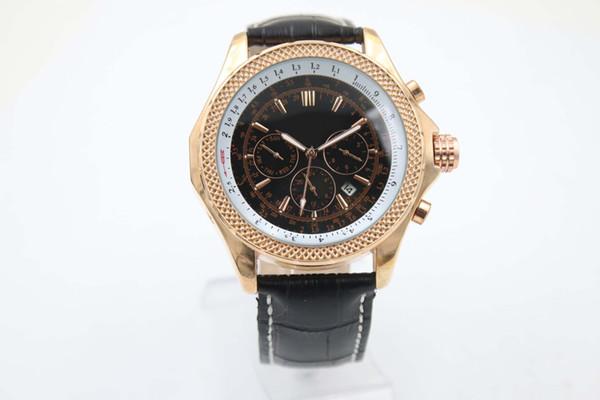 Good man orologio automatico in pelle quadrante nero 46mm orologio cassa in oro 1884 orologio