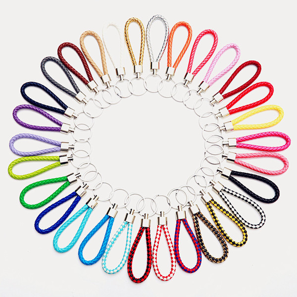30 color PU Leather Braided Woven Keychain Rope Rings Fit DIY Circle Pendant Key Chains Holder Car Keyrings Jewelry accessories in Bulk
