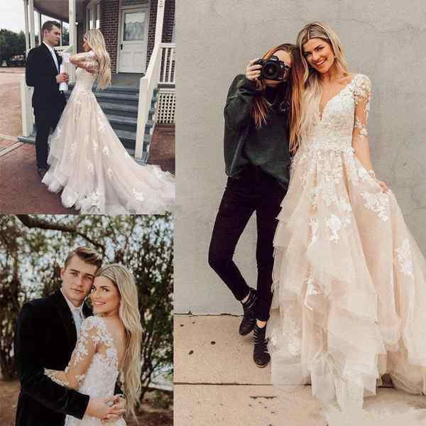 Lace Beach A Line Wedding Dresses with Illusion Long Sleeves V Neck Applique Backless Summer Country Plus Size Bridal Gown