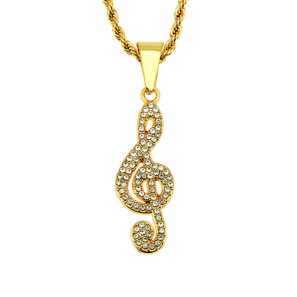 Hop jewelry necklace Factory direct musical note shape Hip hop gold Charm pendant necklace AAA Crystal rhinestone pendant jewelry