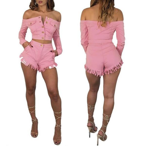 Completi sexy due pezzi tuta da donna single monopetto slash collo manica lunga top pantaloni corti carino ensemble femme dos piezas