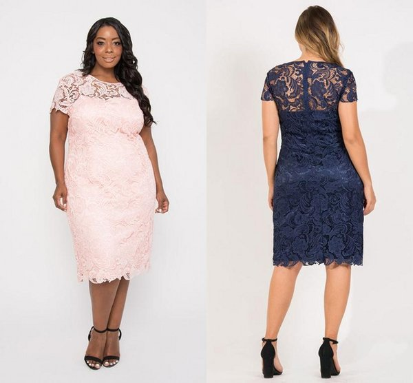 Plus Size Lace Mothers Of The Bride Dresses Jewel Short Sleeve Tea Length  Mothers Dress Formal Party Gowns Wedding Bridesmaid Bridesmaid Mother ...