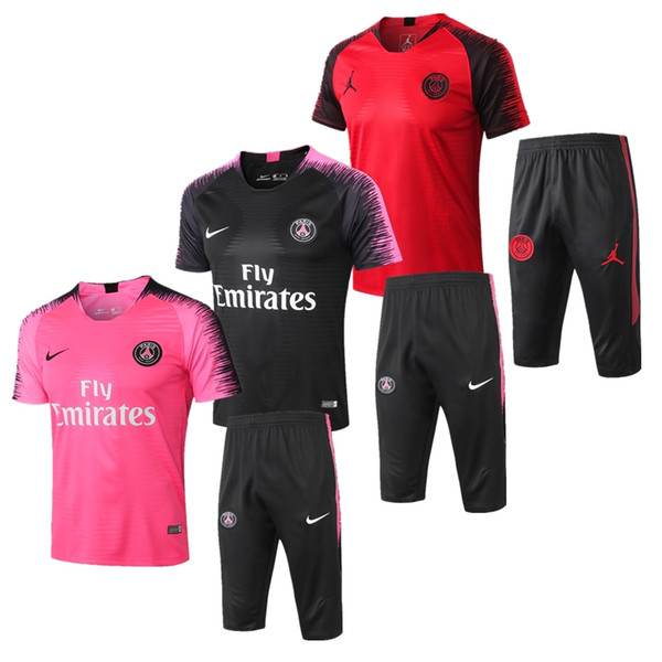 top popular top quality 2018 PSG soccer training suit Short sleeve MBAPPE CAVANI Jerseys 18 19 Real Madrid de foot football jacket tracksuit set 2019