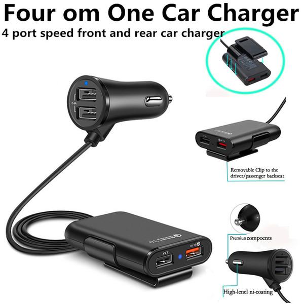 4 puertos USB QC3.0 Adaptador USB para cargador de coche rápido universal con cable de extensión de 5.6ft Cable del asiento trasero para teléfonos inteligentes