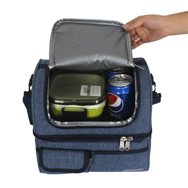 13l lunch box thermal bags for women men picnic drink cooler bag waterproof oxford zipper keep fresh container double layer thumbnail