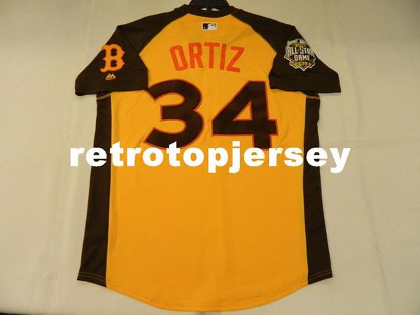MAJESTIC Günstige AMERICAN LEAGUE # 34 DAVID ORTIZ COOL BASIS ALLSTAR Jersey Herren Genäht Groß-und Hoch GRÖßE XS-6XL Baseball-Trikots