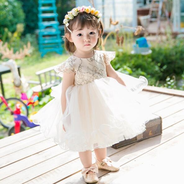 2019 New Baby Girl Wedding Dress White Tulle Beads Big Bow Baptism Christening Gown Pageant Dress Princess Party 1 Year Birthday Clothes