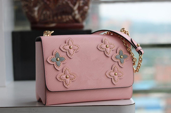 2019 New M50293 Women Flower Print Twist Denim Handbag Purse Bag Pink Messenger Shoulder Bags Crossbody Handbags Totes Boston Bags