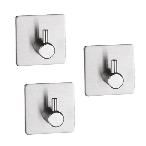 3PCS Multi-functional Door Hanger Stainless Steel Adhesive Hook Wall Hanging Hook Hanger for Coat Key Towel Bag