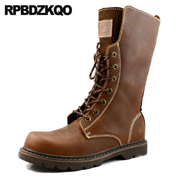 Mens Leather Tall Boots Dur Lace Full Grain 2018 Mid Calf Brown Mode Automne Combat Designer Designer Chaussures Armée