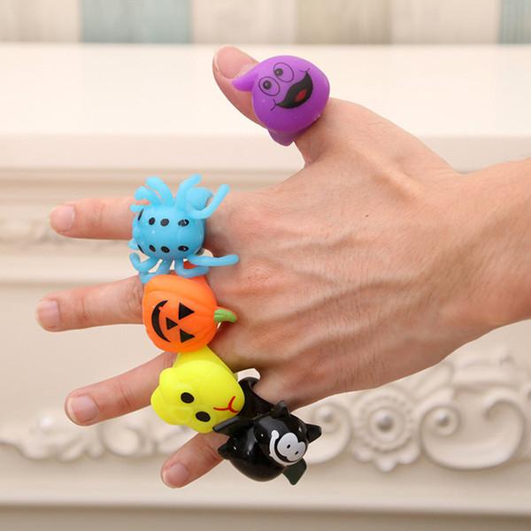 fashion 5 styles Halloween led ring Pumpkin Finger Ring ghost rings light Halloween cartoon Smart RingsLED gloves T2I5352