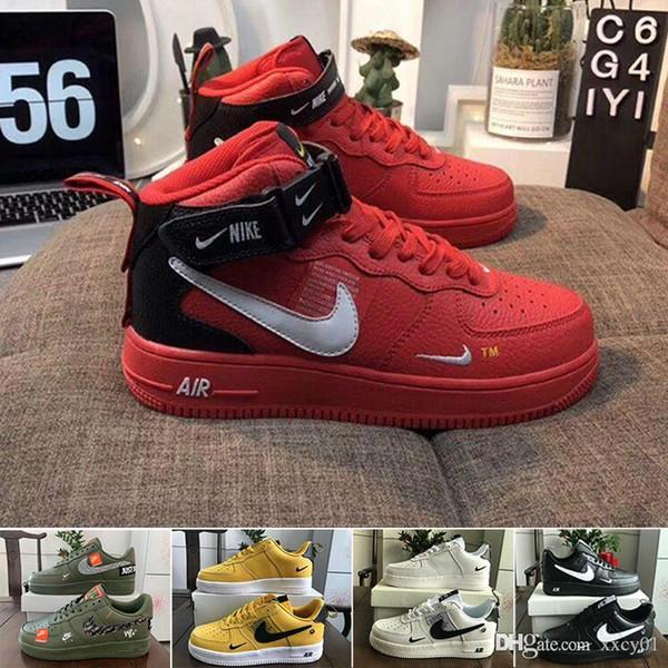 Nike air force 1 one off white Haute Qualité New forces classiques Classique Tous les hautes et basses un 1 Les femmes blanches hommes noirs sport Chaussures de course Obliger
