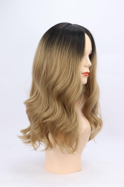 Afro Perruque Объемная Волна Синтетические Парики Синтетический Парик Высокой Плотности Для Черных / Белых Женщин Glueless Волнистые Косплей Парик Волос