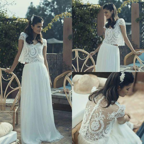 Vintage Wedding Dresses 2 Pieces Maxi V Neck Flowing Short Sleeve Lace Beach Bohemian Bridal Dress pearls Plus Size Vestido De Novia 2019
