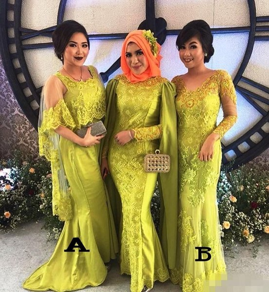Spring Green Bridesmaid Dresses Dubai 2020 Short Sleeves Long Mermaid Sweep  Train Plus Size Maid Of Honor Gown Formal Evening Wear Cheap Red ...