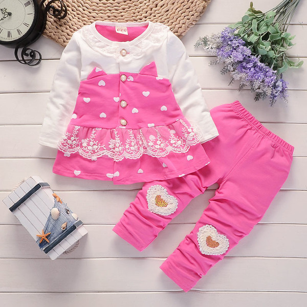 good quality baby girls clothing set baby girls clothes t-shirt + pants 2pcs Sport suit cotton Toddler girl newborn clothing