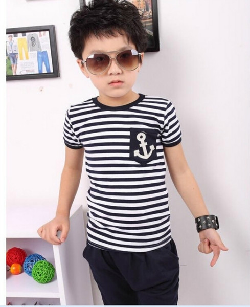 best selling Children's clothing summer new anchor black and white striped T-shirt cotton children's clothing 2-7 years old Children's t-shirt