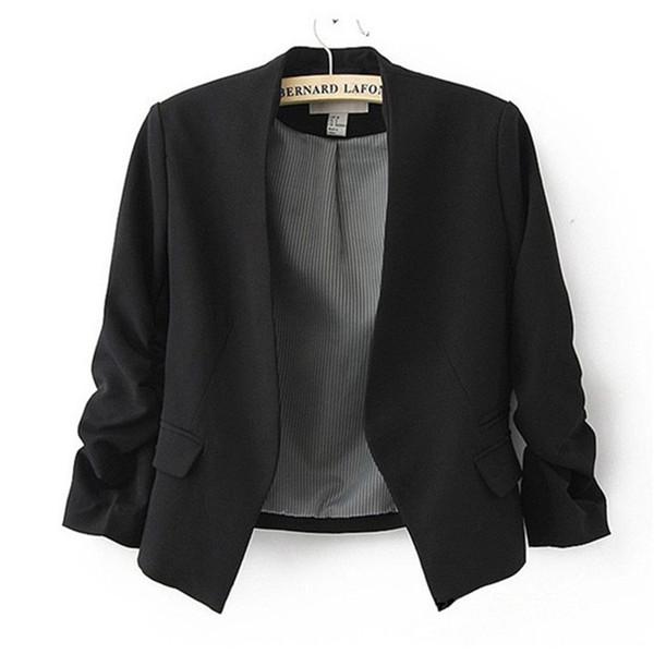 2019 Nouvelle arrivée Veste Blazer Doublé De Rayures Sans Bouton Femmes Manches Plissées Manteau Costume De Mode Blazers Veste De Couleur Bonbon