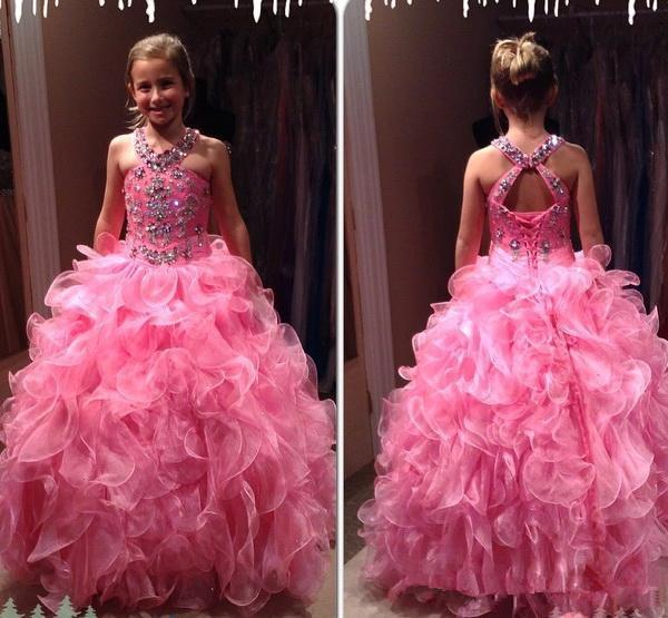 top popular Plus Size Girl Pageant Dress Hot Pink Lovely Tiers Organza Skirt Backless Ruched Long Kids Formal Gowns Party Celebrity Dress For Teens 2020