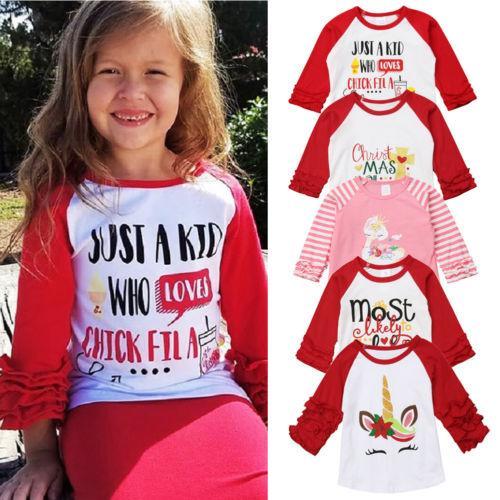 vendita all'ingrosso Toddler Baby Girl Natale T Shirt Stampa Unicorn Ruffle Top manica lunga T-shirt vestiti