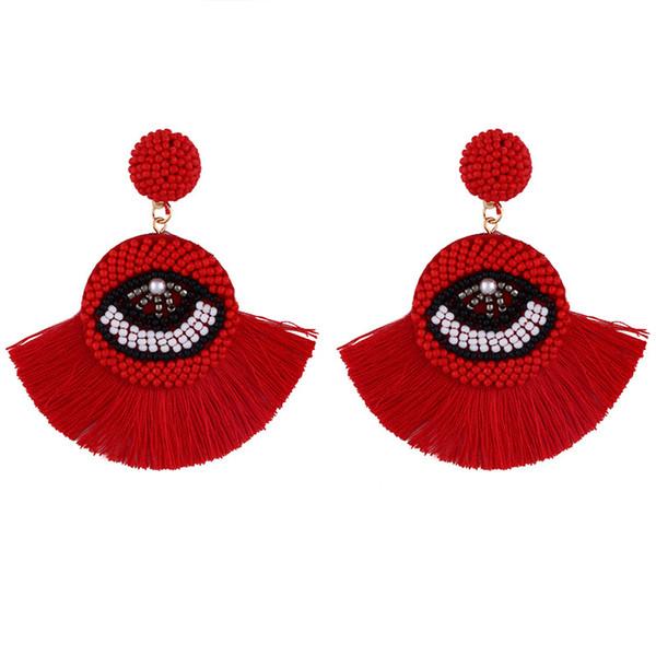 Ethnischer Bohemian Troddel baumeln Ohrringe für Frauen handgemachtes Blicks-Fringe-Tropfen-Ohrringe Kristallperlen-Band-Tropfen-Ohrring-Statement Schmuck