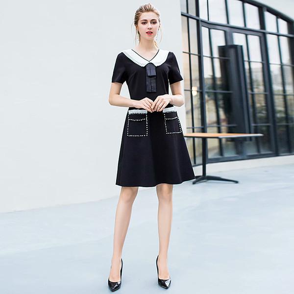 Vestido curto de Milão Runway Designer de Alta Qualidade 2019 Primavera Novas Mulheres Moda Festa de Trabalho Sexy Vintage Elegante Chic Vestidos Pretos