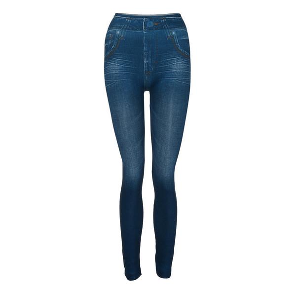 exy Push Up Fake Jeans Leggins for Women Velvet Warm With Pocket Slim Leggings Fitness Plus Size Ankle-Length #CJ