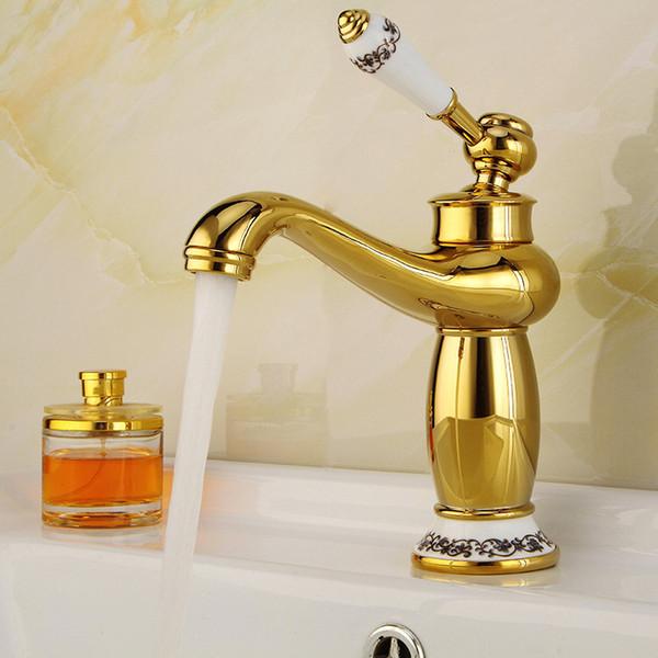 Tout fini cuivre doré eau robinet de style européen et chaud Mélangeur eau froide Robinets robinet de lavabo bassin