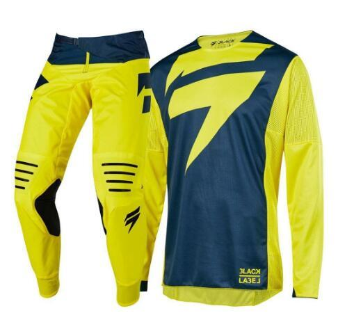 best selling New MX 2019 3 LACK Mainline Yellow Jersey Pants Adult Motocross Equipment Jersey Set + Pants Racing Equipment Combination