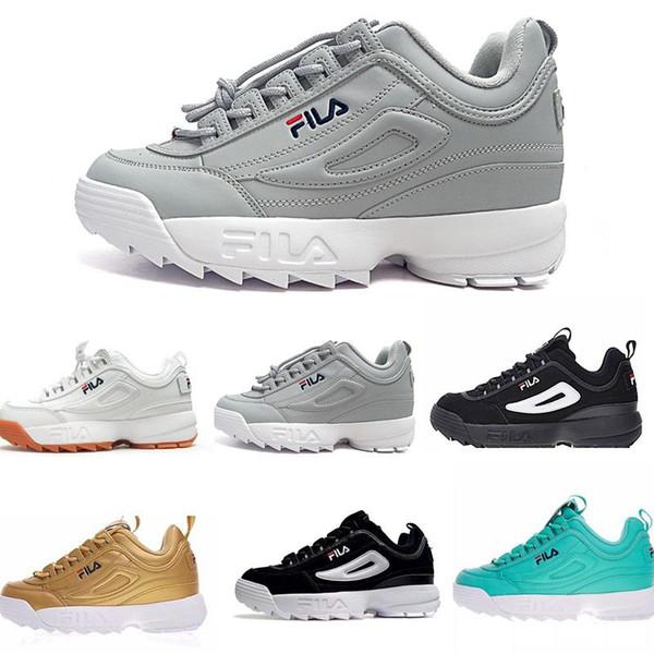 FILA disruptor 2 II Disruptors II 2 zapatos blanc noir gris rose dame femmes hommes scarpe baskets de sport décontracté augmenté Jogging running chaussures taille 36-44