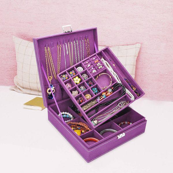 Organizer in legno Trucco quadrato Faux Suede Fashion Ring Collana Semplice Choker Jewelry Box Large Carry Case