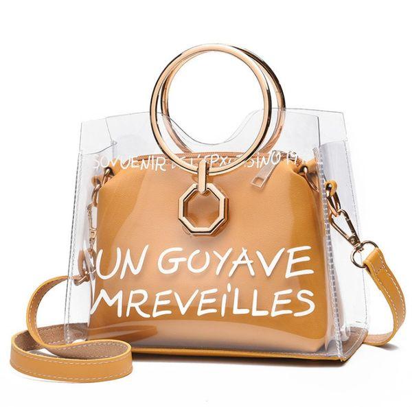 Luxury Satchel Handbag Women Bag Clear Jelly Transparent PVC Bag Candy Color Tote Designer Purse Bolsa Female Crossbody#D251