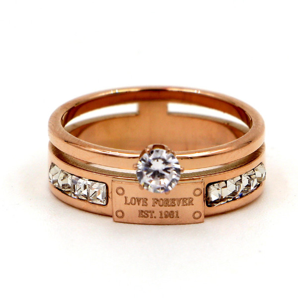 Titanium steel six claw drill small square diamond index finger ring hipster personality rose gold girl ring