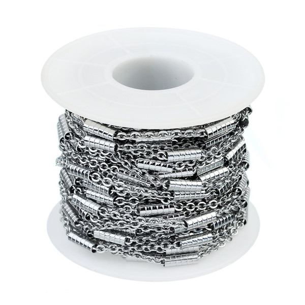 wholesale 10 Yard Stainless Steel Texture Tube Cable Flat Link Chain 1.5mm 2.2mm Soldered Link Bulk Chain for DIY Jewelry Material