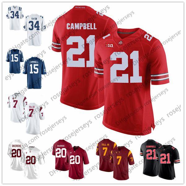2019 Ohio State Buckeyes # 21 Parris Campbell OSU Weißer Felsen Ya-Sin Ben Banogu Bobby Okereke USC Marvell Tell III Blue Rush Fußballtrikot