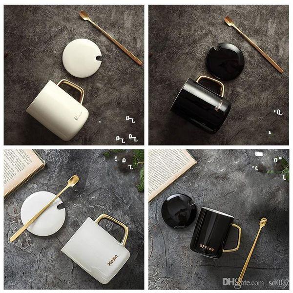 Keramik Office Home Cup Vergoldet Reine Colormugs Originalität Tumbler Praktische Abdeckung Kaffeetassen Löffel Tumbler Neue Produkte 12 5bdb1