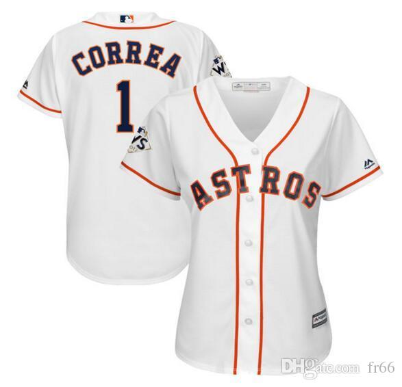 promo code 53e2a 3fc33 Custom Women'S Houston Astros Carlos Correa Majestic White 2018 World  Series Bound Cool Base Player JerseySports Wholesale Mlb Men' UK 2019 From  ...