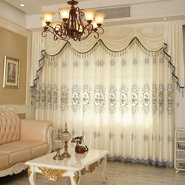 best selling High-grade European Hollow Embroidery Semi-shading Curtains for Living Dining Room Bedroom.