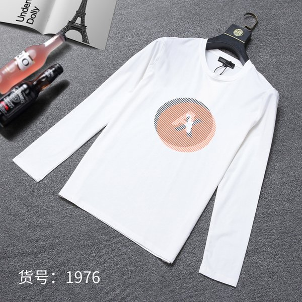 2019 Automne manches longues T T-shirt Jeunes hommes T-shirts en pur coton talonnage Blouses mâles 911071206