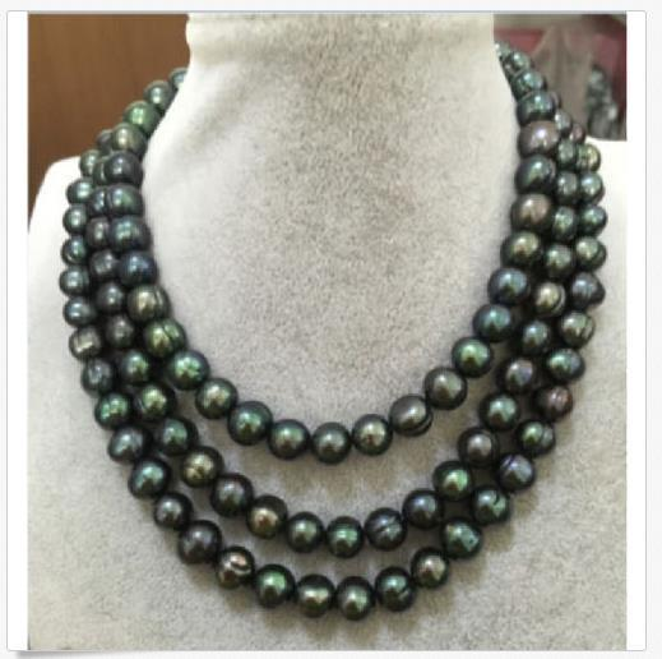 50 ZOLL RIESIGE AAA + 11-13 MM South Sea Black Pearl Halskette