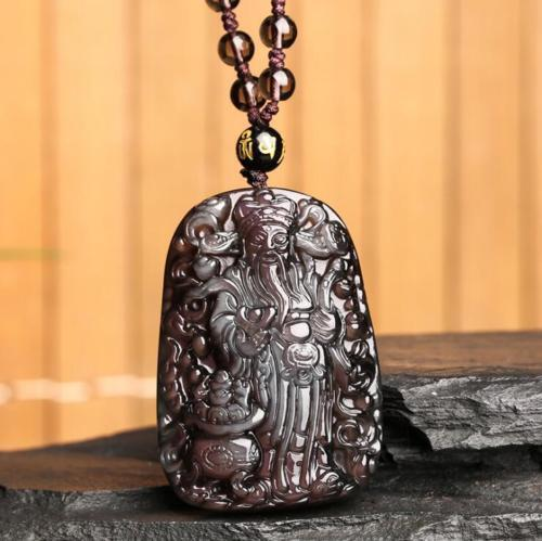 Fine Jewelry Natural Colour Obsidian Hand Carved God of Wealth Lucky Pendant + Beads Necklace Free Shipping