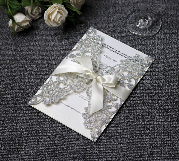 Luxury Silver Glittery Laser Cut Wedding Invitation Cards with White Ribbon Invitations for Bridal Shower Engagement Birthday Graduation