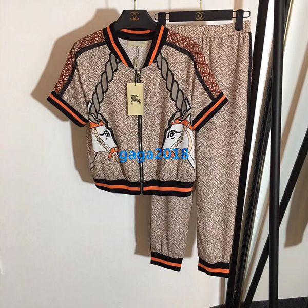high end women girls monogram unicorn print t-shirt short sleeve tee top sweatshirt elastic waist jogging legging pants design luxury set
