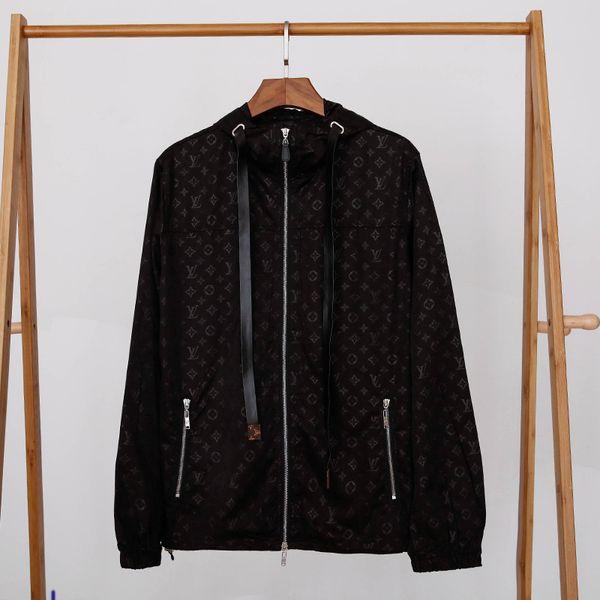 Veste nouvelle marque Hommes capuche coupe-vent Lettres de poche Imprimer Veste Hommes Automne manteau col stand Taille M-2XL