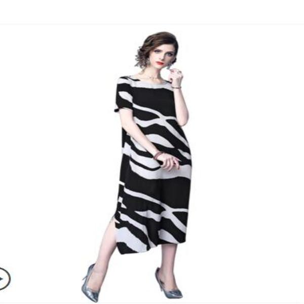 4xl 2018 Dress Summer New Chiffon Dress Plus Size Women's Clothing Dresses Female O-Neck Korea Loose Prin Long dresses Vestido