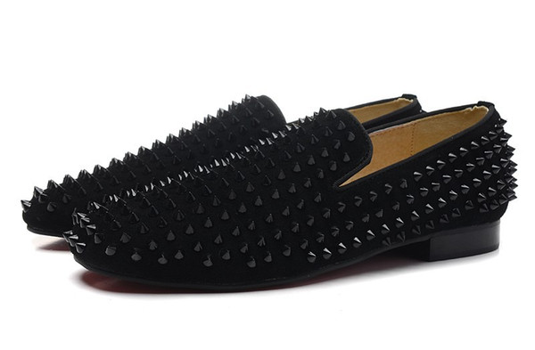 New 2016 mens spiked black suede loafers,designer brand business wedding dress shoes,fashion men oxfords 39-46,Super beautiful red shoes